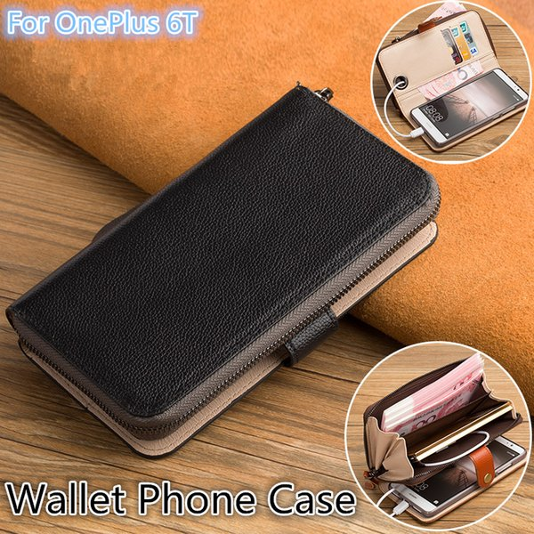 QX06 Genuine Leather Multi-Function Phone Bag For OnePlus 6T Wallet Case For OnePlus 6T Wallet Phone Case With Kickstand