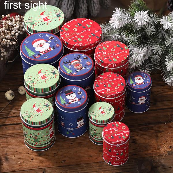 Noël pièce de rangement bocal petite boîte en fer boucles d'oreilles enfant stockage Santa bonhomme de neige décoration cadeau boîte de bonbons cadeau taille ensemble multiples
