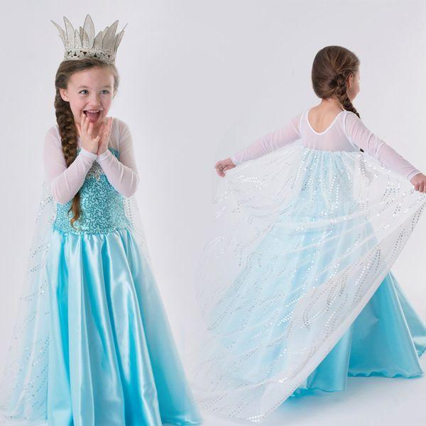 Designer Bebés Meninas Dress lantejoulas diamante Cosplay Clothes Desempenho Ice Queen vestido Crianças Roupa Halloween Party Stage 06