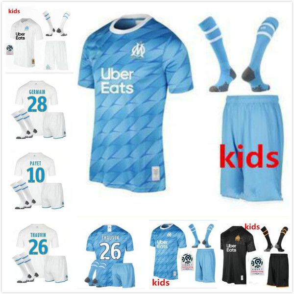 Kids Kit 19 20 Olympique De Marseille Soccer Jersey Kits 2019 2020