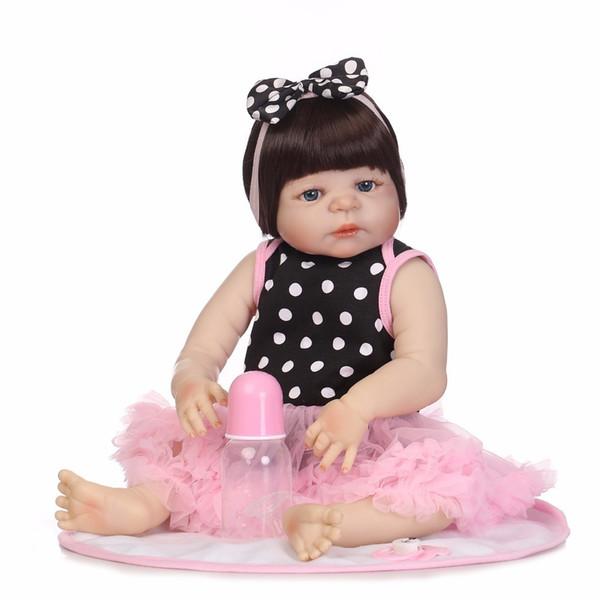 "Npk 19"" 46cm Full Body Silicone Reborn Baby Girl Dolls Reborn Can Bath Bebes Reborn Babies Dolls For Children Juguetes Bonecas J190508"