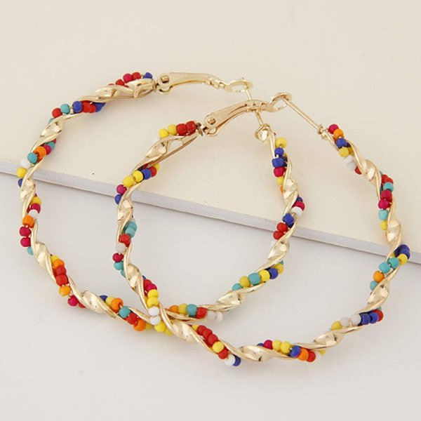 Bohemian Colorful Resin Beads Hoop Earrings Geometric Gold Plated Twist Alloy Big Earrings For Women Fashion Jewelry Accessories Wholesale