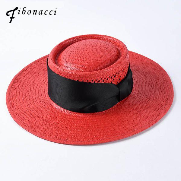 24fad3afef3b55 Fashion 2019 New Brand Quality Classic Bow Big Brim Sun Hat For Women  Summer Felt Pork Pie Wide Brim Straw Beach Hats