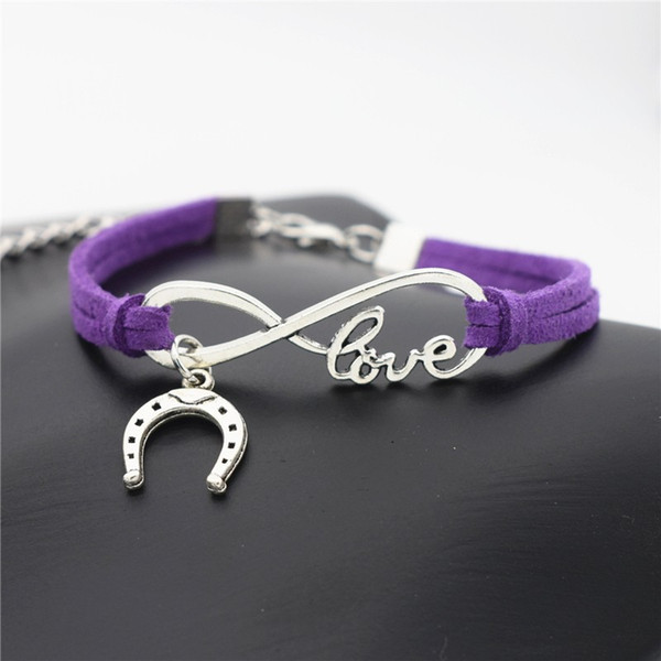 New Silver Color Infinity Love Horseshoe Horse Hoof Bracelets Purple Leather Suede Hand Friendship Lucky Bangles For Women Men Jewelry Gifts