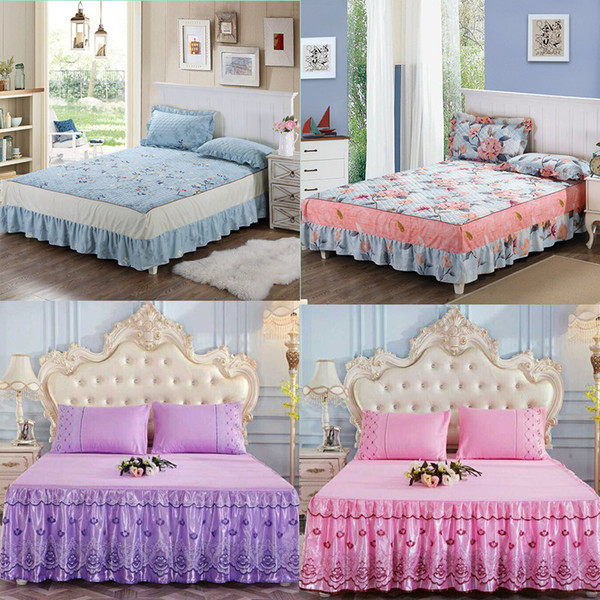 Bedspread Coverlet sets Pillowcases - Hypoallergenic, Box Stitched Down Alternative Bed Skirt (King, Blue)