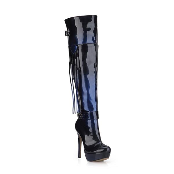 Sexy Party Stiletto High Heel Platform Buckle Tassel Fringe Women Over-the-Knee Boots Bottes Cuissard Femmes Talon YJ3463BT-u4