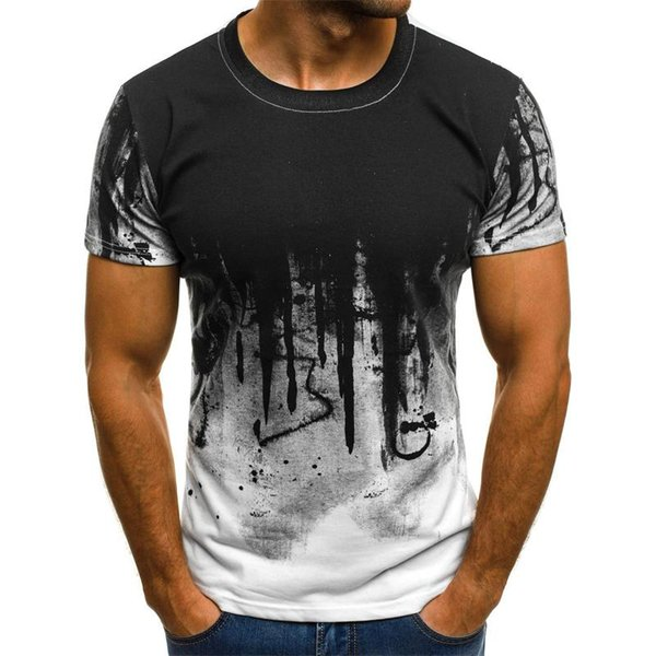 New Euro-American Style Men's Fashion Sports Body-building Camouflage Short-sleeve T-shirt Summer Personality Print T-shirt Mens Shirts