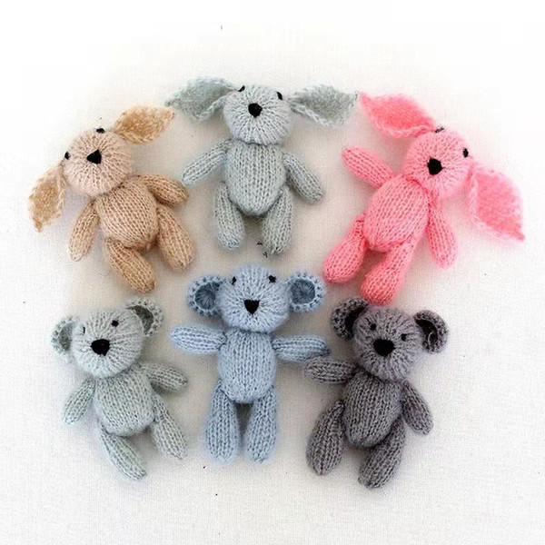 Knitted Teddy Bear Toy Photo Prop Crochet Bunny Toy For Newborn Photography Props Crochet Rabbit Baby Photo Prop Christmas Props J190517