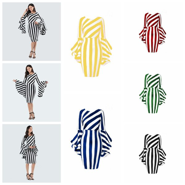 Stripes Dress Women Flounce Sleeve Dress Vertical Diagonal Stripe Patchwork Dresses Plus Size Bodycon Dress Apparel Vestidos YFA1150
