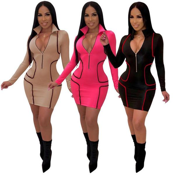 Kontrastfarbe Sexy T-Shirt Kleid Frühling Frauen Langarm Striped Print Party Kleid Elegant Front Zip Tiefem V-Ausschnitt Kurzes Kleid NZK-1597