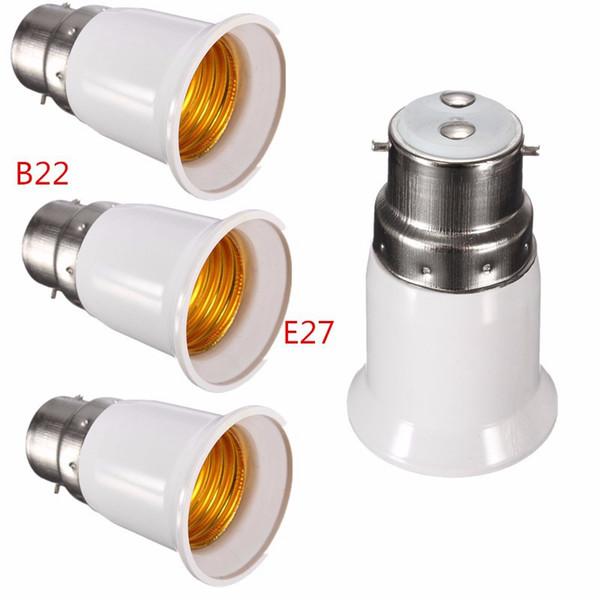1 Unidades B22 a E27 Base LED Lámpara de luz Bombilla Incendio Adaptador Adaptador Convertidor Socket Cambiar B22 (enchufe macho) a E27 (enchufe hembra)