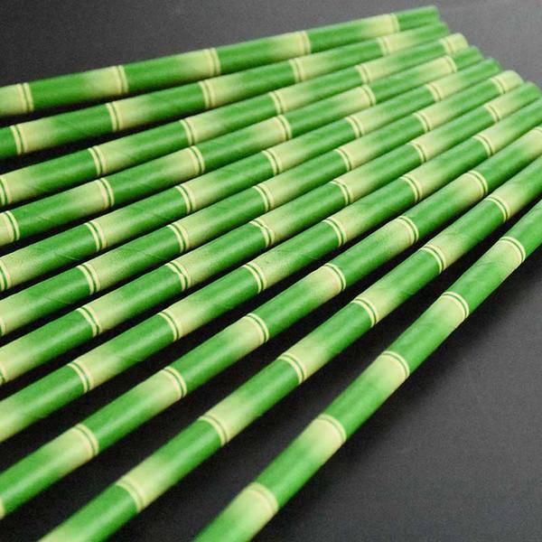 25pcs Paper Straws Green Bamboo Pattern Wedding Birthday Party Celebration Supplies Beverage Straws JS23