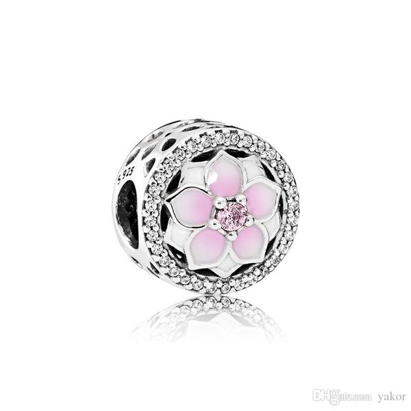 Pink Enamel flowers Charm Jewelry accessories Logo Original Box for Pandora 925 Sterling Silver DIY Bracelet Making Charms