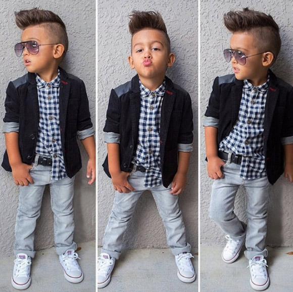 Kid Formal Wear Boy suit jacket shirt + jeans belt boy suit black coat plaid shirt cotton cool clothes