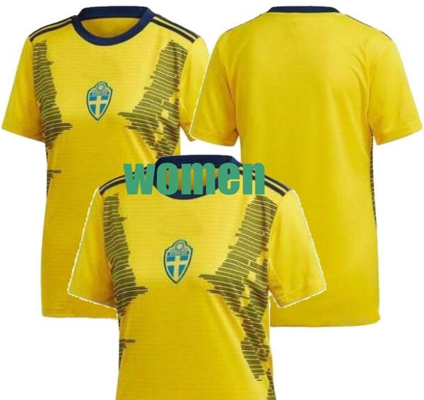 2019 Woman World Cup Sweden home Soccer jersey 19/20 Sweden #11 BLACKSTENIUS #9 ASLLANL 10# IBRAHIMOVIC girl Soccer Shirt lady Football Unif