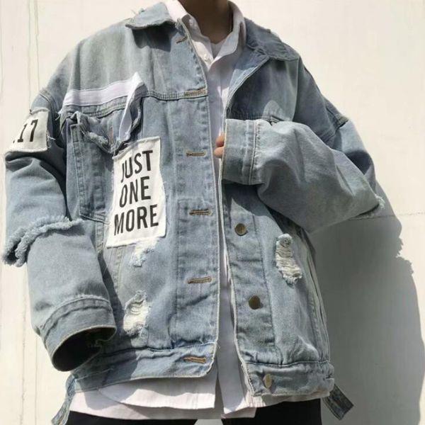 Ins Hip-hop New Jean Jacket Cardigan Version Coréenne High Street BF Étudiants Mâle Jean Jacket S-3XL