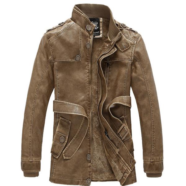 Vintage Kış Erkek 'S Pu Ceket Motosiklet Mont Kalın Polar Astar Sıcak Giyim Slim Fit Erkek Deri Ceket 4xl 3xl Sarı Üst