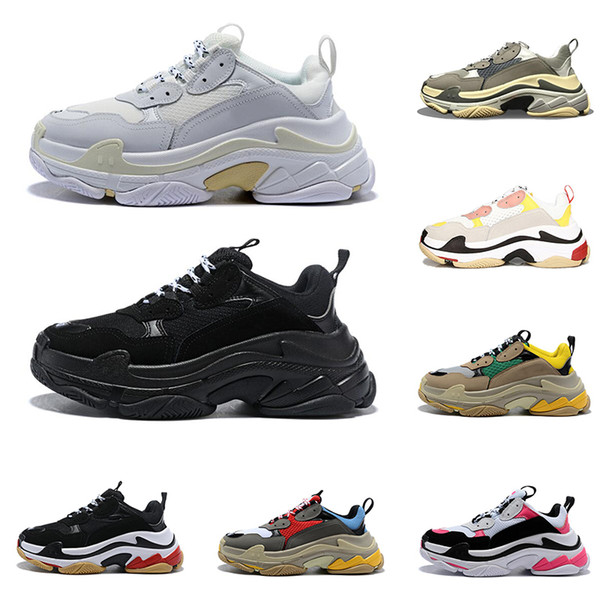 2020 triple s sapatos de grife para mulheres dos homens tênis de plataforma preto branco cinza vermelho rosa mens formadores sapatilha moda pai sapato ocasional