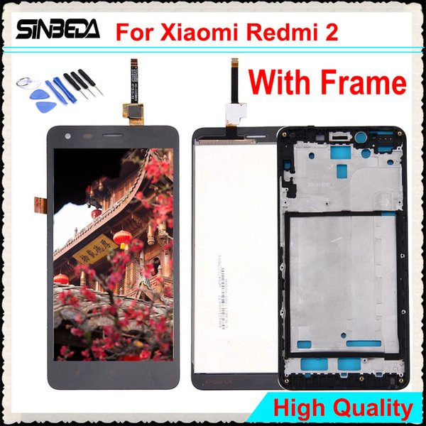 Sinbeda Best Price LCD Display For Xiaomi Redmi 2 Hongmi 2 with Touch Screen Digitizer +Frame Free Tools red mi2 lcd pantall