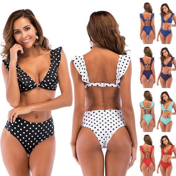 Mode Femme Falbala Taille Haute Bikini Profonde V Maillot De Bain Imprimé Dot Set De Bain Été Falbala Robe LLA51