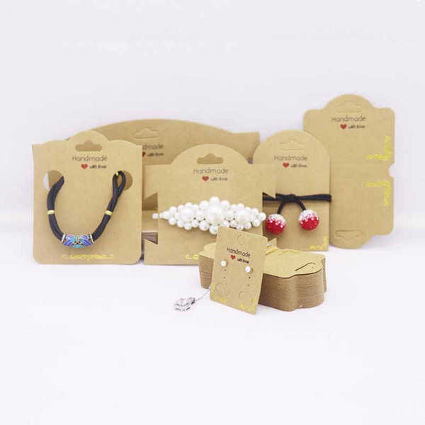 100pcs /lot 2019 gold foil earring necklace tag card DIY handmade with love bracelet hair ornament package and display tag card