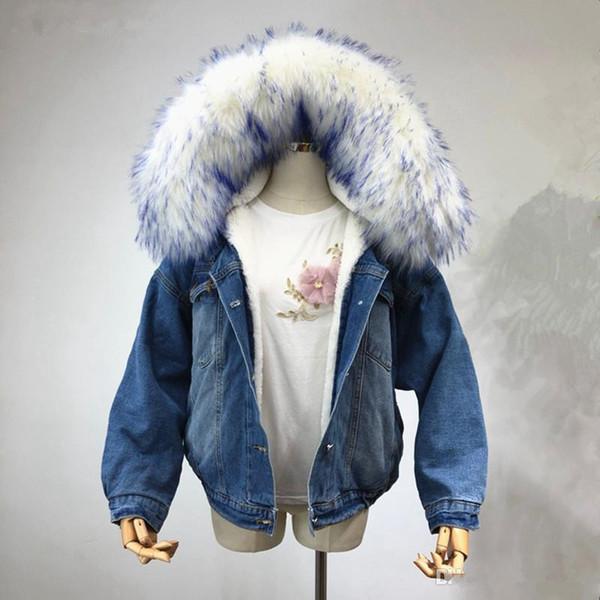 Winter Women Casual Thick Jean Coat Faux Fur Collar Fleece Hooded Denim Coat Loose Denim Cotton Jacket Lady Padded Warm Denim Outwear