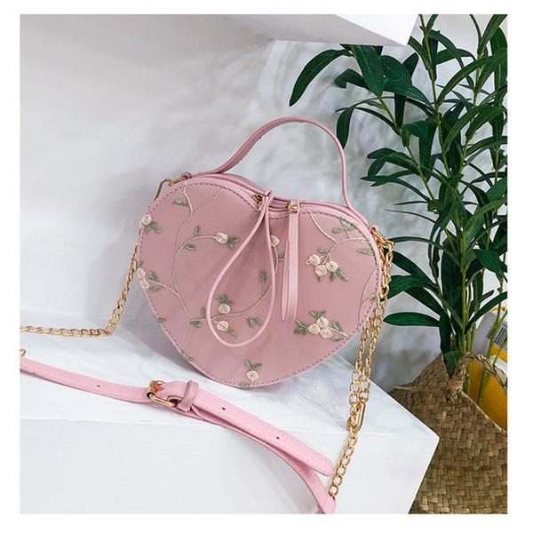 2018 new Korean fashion heart-shaped bag fashion trend wild single shoulder Messenger bag lace chain small bag