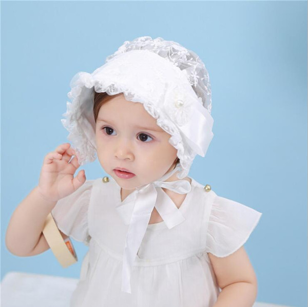 Bonita flor de encaje Sombrero del bebé Niña de verano Sombrero del sol Sombrero de princesa Hollow Bonnet Cap Algodón con cordones Infant Toddler Beanie Girls Cap 4 colores