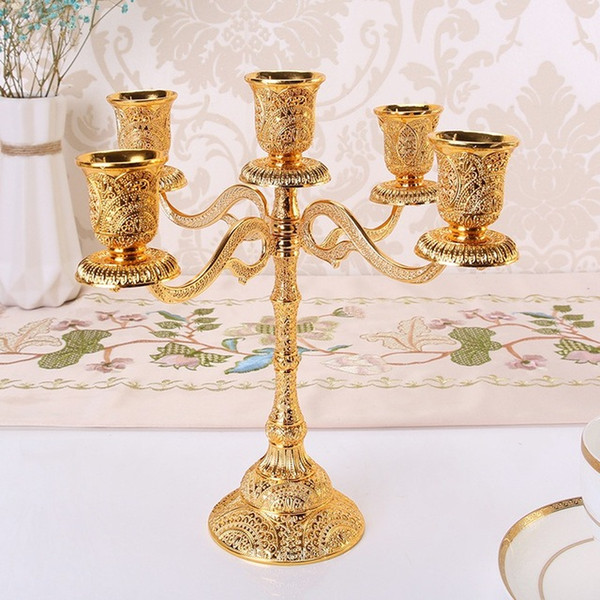 5 Arms Metal Candle Holders Hollow Design Candlestick Tabletop Candle Stand Wedding Decoration Candelabra Home Decor Candelabrum Wall Sconces Candle