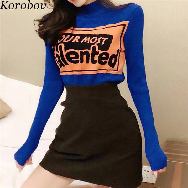 Korobov 2018 nouvelle lettre d'arrivée femme en tricot chandail demi col roulé chandails à manches longues coréen Slim Bottom Sueter Mujer 76497