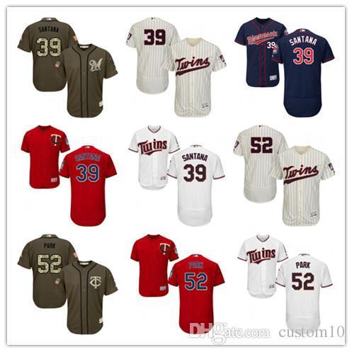 Erkek kadın Gençlik Minnesota # 52 Byung-Ho Parkı 39 Danny Santana Özel Beyzbol Formaları İkizler