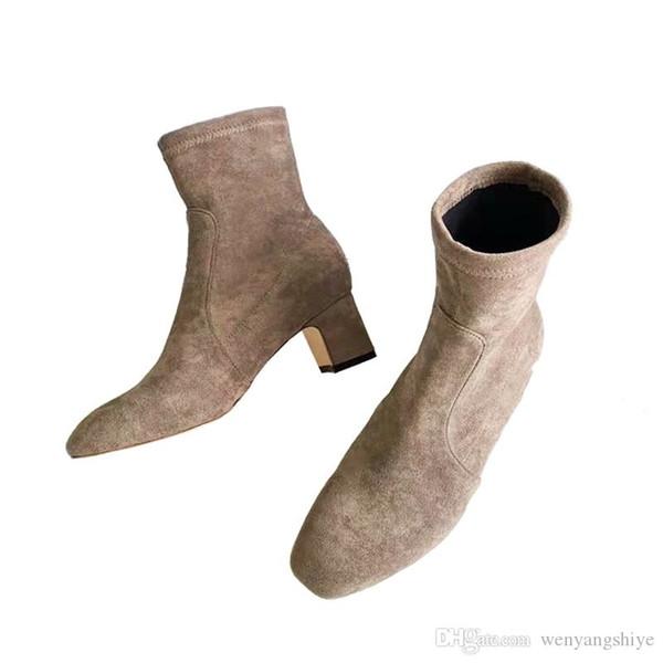 2019 nova moda selvagem sola de borracha botas de tornozelo mulheres s Martin botas de moda com sapatos de salto além de veludo de alta embalagem original