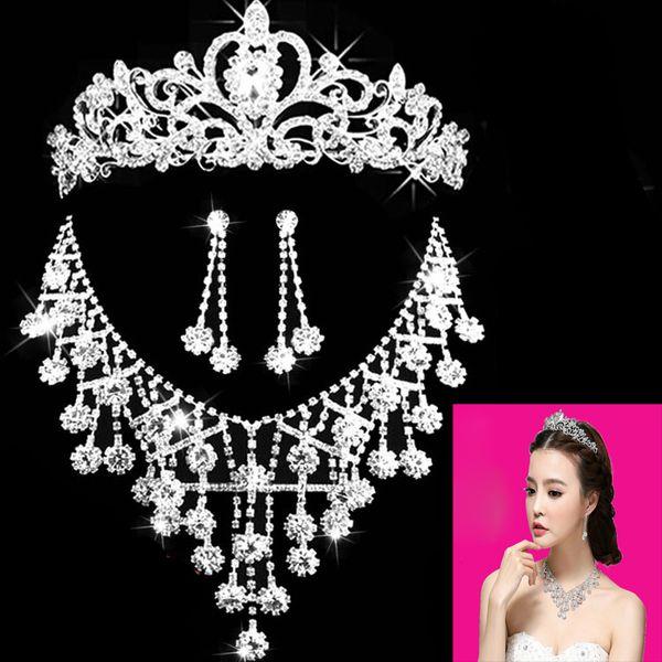 2019 Romantique Cristal Trois Pièces Fleurs Bijoux De Mariée Ensemble Mariée Collier Boucle D'oreille De Mariage Couronne Diadèmes Partie Accessoires Livraison Gratuite