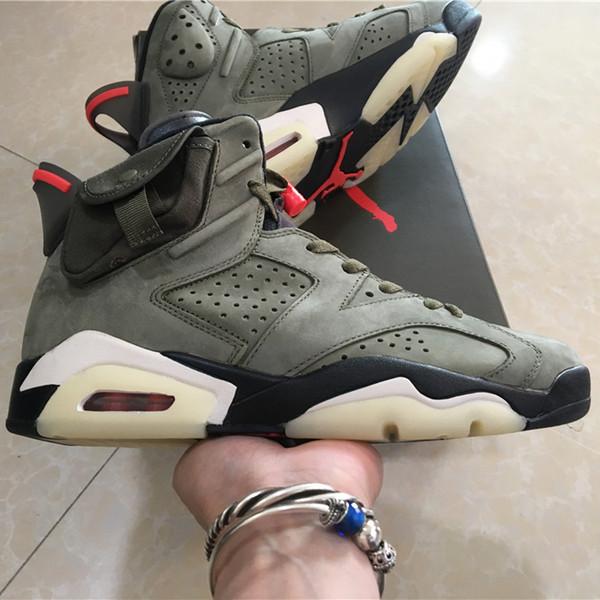 with box travis scott x air jordan 6 shoe medium olive