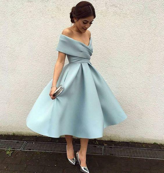 best selling Modest Short Party Dresses Off the Shoulder Knee Length Satin Backless 2020 Arabic Cheap Bridesmaid Dress Prom Cocktail Gowns Custom Made