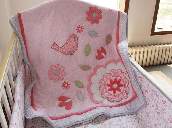 New Fashion Crib bedding set 7Pcs Cot bedding set for infant girl Pink Baby bedding set Applique Embroidery 3D bird Quilt Bumper