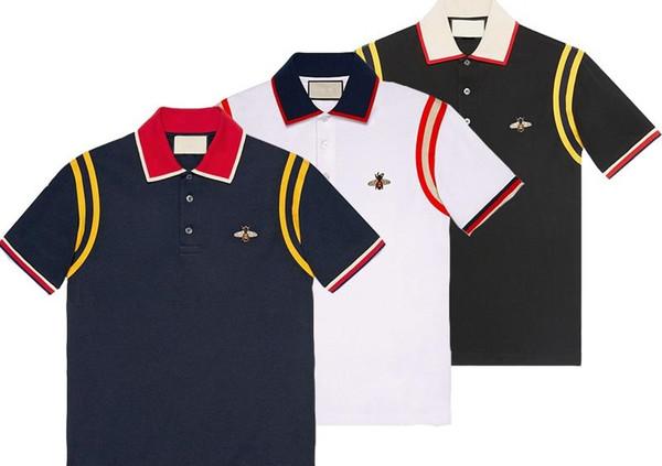 2018 Marca New Primavera-Verão para homens polo camisetas Poloshirts casuais bordado camisa polo Asiático Tamanho M-3XL