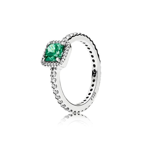 100% Authentic Green CZ Diamond Wedding Rings Logo Original box for Pandora 925 Sterling Silver Engagement Jewelry RING for Women