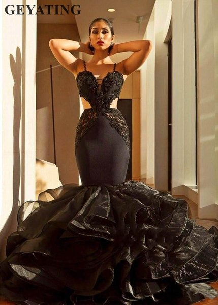 Sexy Black Lace Mermaid Prom Dresses 2019 Backless Ruffles Long Evening Gowns Cut-Out Tiered Organza African Formal Party Dress