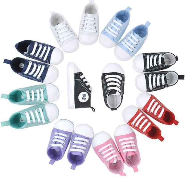 wholsale Baby Sports canvas Shoes Boy Girl First Walkers Sneakers Baby Infant Soft Bottom Casual Lace-UP shoes for 0-12 Mons C0005