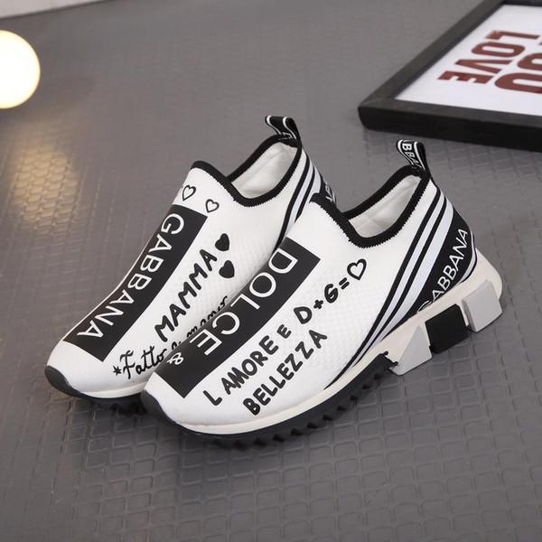 2019 Hombres Zapatillas Slip-on Sorrento Moda Mujeres Suela de goma elástica Zapatos casuales Unisex Tela transpirable Lycra Footbed Shoes Box 35-5