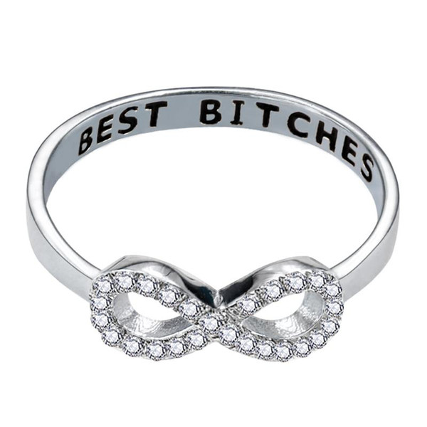 BEST Bitches FRIEND SISTER black mood infinity party fashion promise ring for women girl sterling silver 925 jewelry R4411S