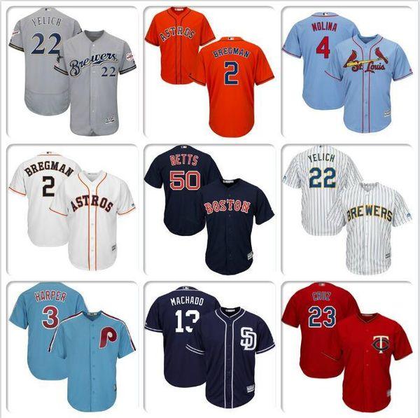 Mens Alex Bregman Yadier Molina Bryce Harper Jersey Nelson Cruz Mookie Betts Manny Machado Christian Yelich cool base baseball jerseys kit