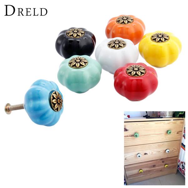 Hardware Cabinet Pulls DRELD Pumpkin Furniture Handle Ceramic Door Knob Cupboard Drawer Cabinet Knob and Handles Kitchen Pull Handle Furn...