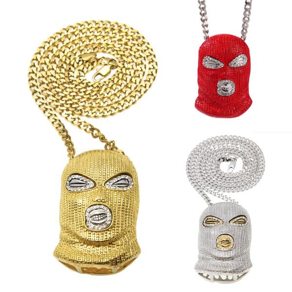 Hip Hop antiterrorismo Rosso Oro Argento CS catena cubana Pendente Maschera Terrorist collana Miami Rapper regalo catene dei monili per ragazzi in Vendita