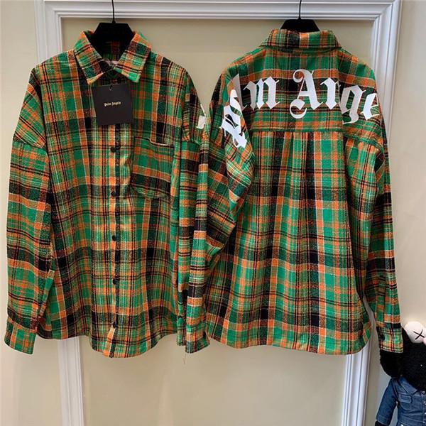 Palmiye Melekler Gömlek Sonbahar Rahat Pamuk Yüksek Kaliteli Palmiye Melekler Ekose Gömlek Yeni Streetwear Moda Uzun Kollu