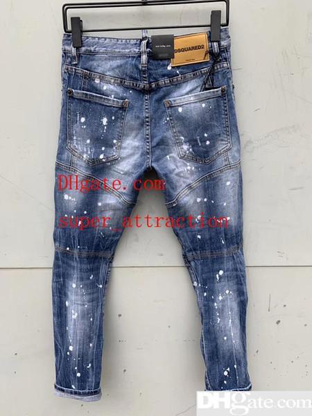 Top Qualität Designer Marke D2 Männer Jeans Stickerei Hosen Mode Löcher Hosen Luxus Denim Italien Größe 44-54