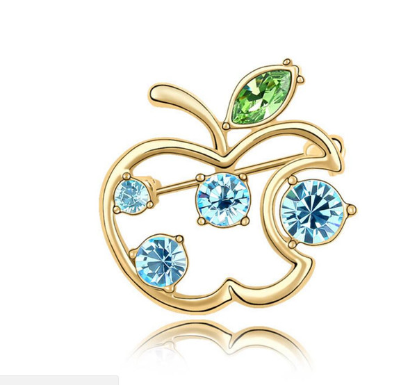 Ücretsiz kargo moda takı Swarovski Elemental Kristal Broş Kullanarak Tatlı küçük elma Güzel Noel Elbise Pimleri Broşlar