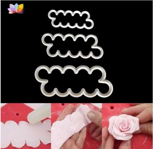 PF 3pcs Cookie Molds Fondant Cake Mold Flower Rose Cutters Silicone Baking Tools for Cakes Cookie Patisserie Kitchen Accessories