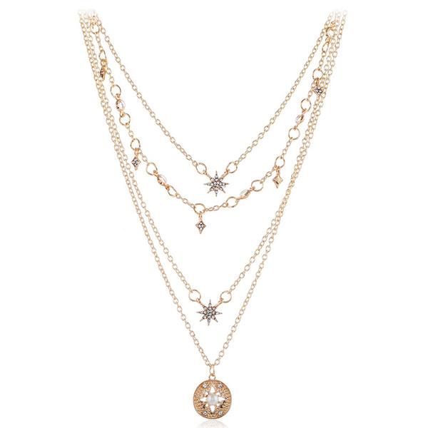 Europeu Americano new Mulheres moda jóias estrela colar de aniversário festival presente